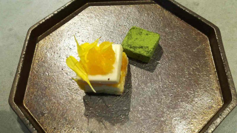 ミレニアム 三井ガーデンホテル 東京 現代里山料理 ZEN HOUSE アフタヌーンティー 菊のケーキと抹茶生チョコ